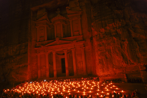 Petra Jordan at night